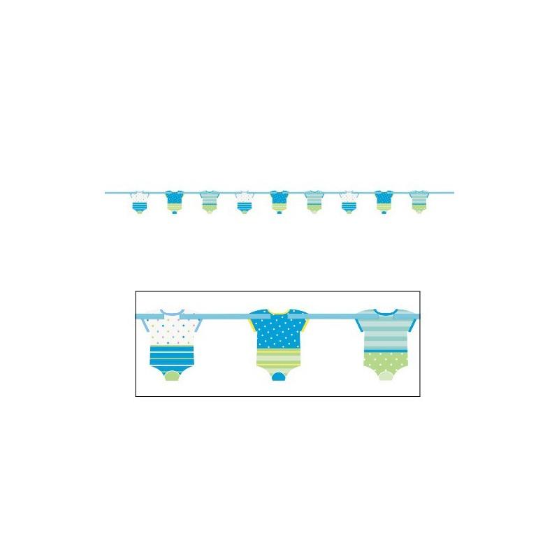 banderole guirlande baby gar on bleu avec fanions body pois. Black Bedroom Furniture Sets. Home Design Ideas