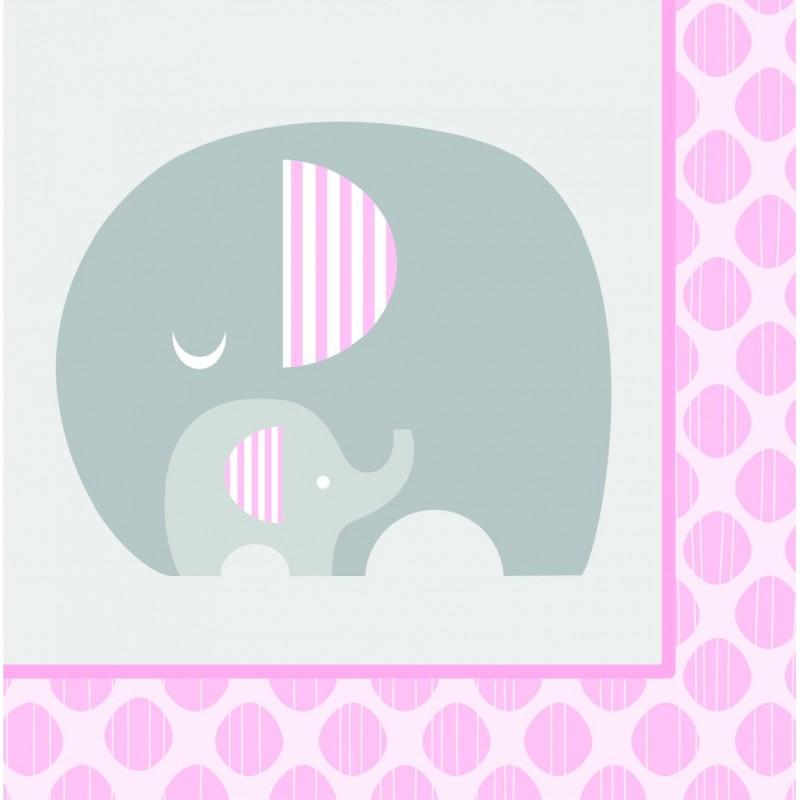 Serviettes En Papier Baby Shower 233 L 233 Phant Rose Pastel Et Gris