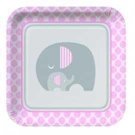 Grandes Assiettes en Papier Elephant Pastel