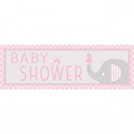 Banderole Géant Baby Shower Elephant Pastel