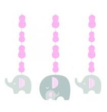 3 Guirlandes à Suspendre Elephant Pastel