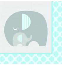 Serviettes en Papier Elephant Bleu Pastel