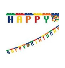 Banderole à fanions à thème Anniversaire Lego et Bloc Party
