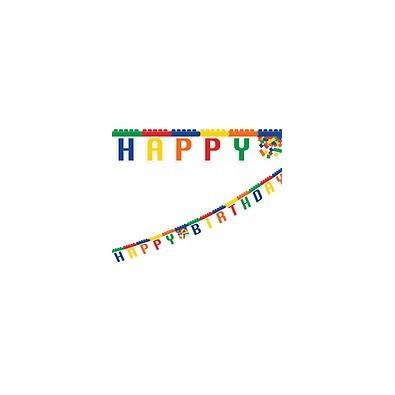 Banderole Décoration Anniversaire Happy Birthday Thème Lego Et Bloc Party