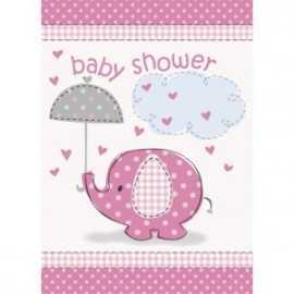 8 Invitations Baby Shower Petit éléphant rose + Enveloppe