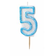 Bougie Chiffre Bleu Pailleté 5 Cinq