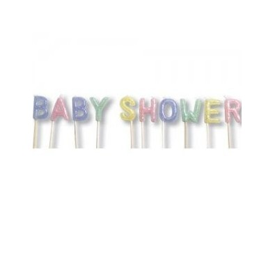 Bougies Baby Shower en Lettres Pastel Pois Blanc