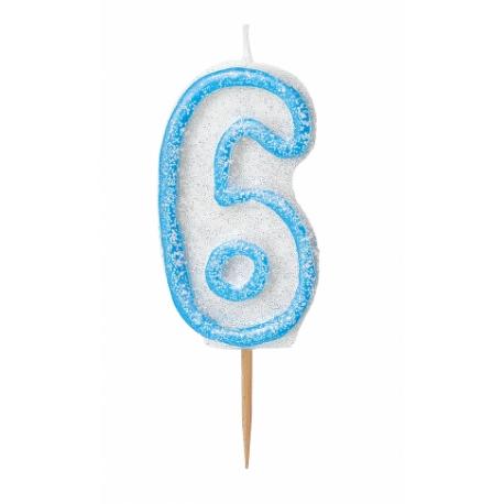 Bougie Chiffre Bleu Pailleté 6 Six
