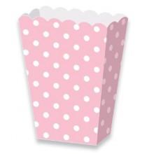 Boîtes A Pop Corn ou Bonbons Pois Rose Clair