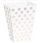 Boîtes A Pop Corn A pois argent blanc Présentation Sweet Table