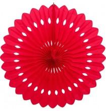 Rosace 40cm Eventail Rouge Papier de Riz