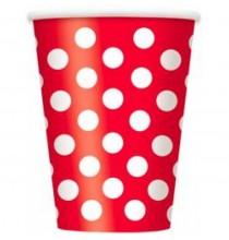 Gobelets en Papier Rouge à Pois Blanc