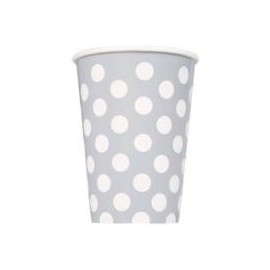 Gobelets en Papier Gris à Pois Blanc