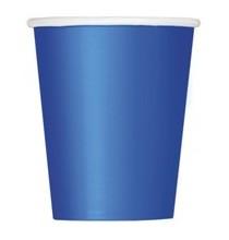 8 Gobelets en Papier Bleu Royal Vaisselle Jetable de Fête