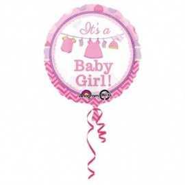 Ballon Hélium Rond Baby Shower rose It's a Girl