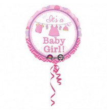 Ballon Hélium Rond Baby Shower rose It's a Girl