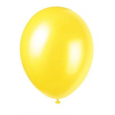 8 Ballons Gonflables Latex Jaune Fête