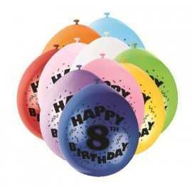 10 Ballons Anniversaire Latex 8 ans