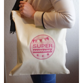 Tote Bag Super Marraine - Sac coton naturel