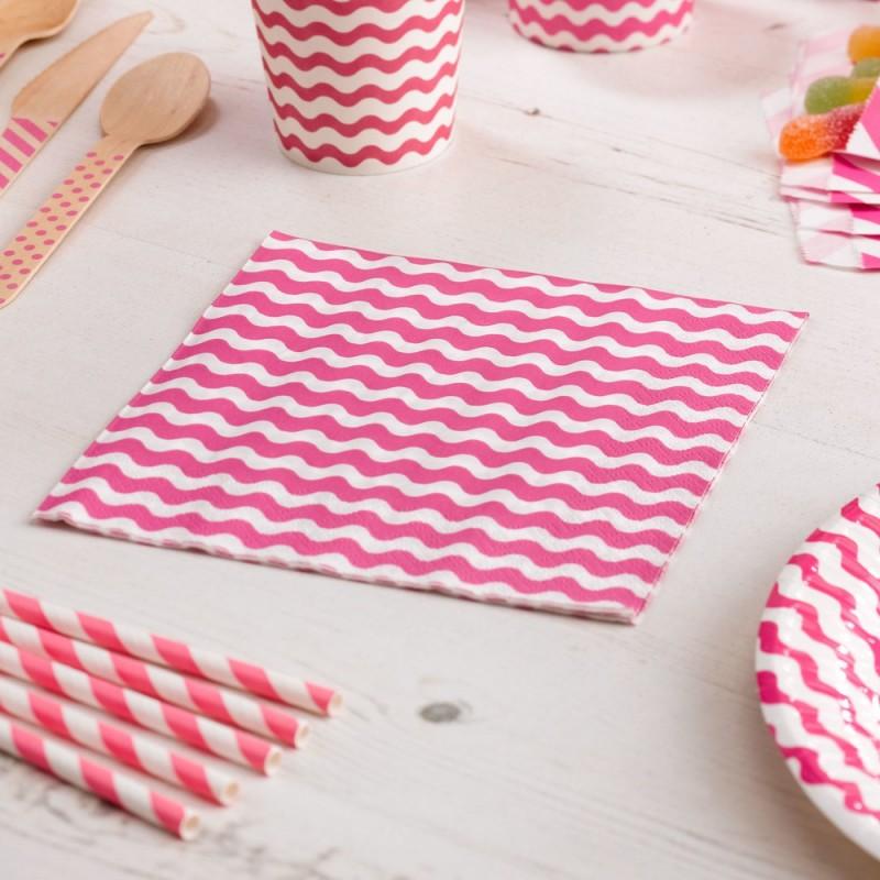 20 serviettes rose et blanc motif vagues carnaval rose. Black Bedroom Furniture Sets. Home Design Ideas