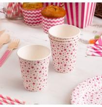 Gobelets en Papier Carnaval Rose Etoiles