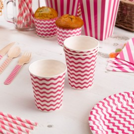 Gobelets en Papier Carnaval Rose Vagues