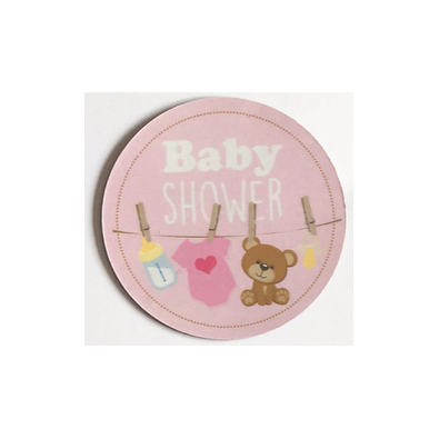 badge aimant magnet baby shower rose guirlande t tine ourson body. Black Bedroom Furniture Sets. Home Design Ideas