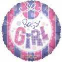 Ballon Rond Baby Girl Bavoir Rose Parme