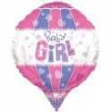 Ballon Montgolfière Baby Girl Bavoir Rose Parme