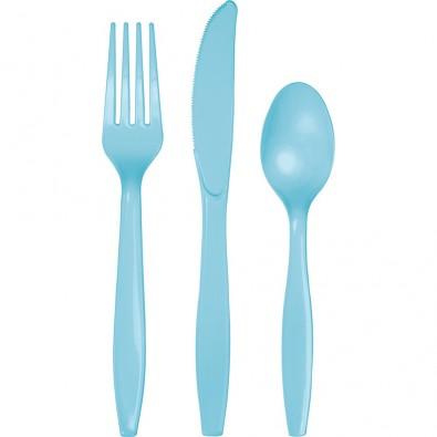 24 Couverts Plastiques Bleu Clair Vaisselle Jetable de Fête