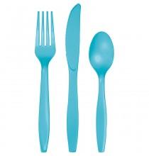24 Couverts Plastiques Bleu Vert d'Eau Vaisselle Jetable de Fête