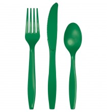24 Couverts Plastiques Vert Emeraude Vaisselle Jetable de Fête