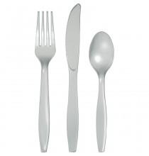 24 Couverts Plastiques Argenté Vaisselle Jetable de Fête