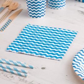Serviettes en Papier Carnaval Bleu Vagues