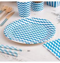 Grandes Assiettes en Papier Carnaval Bleu Vagues