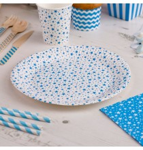 Grandes Assiettes en Papier Carnaval Bleu Etoiles