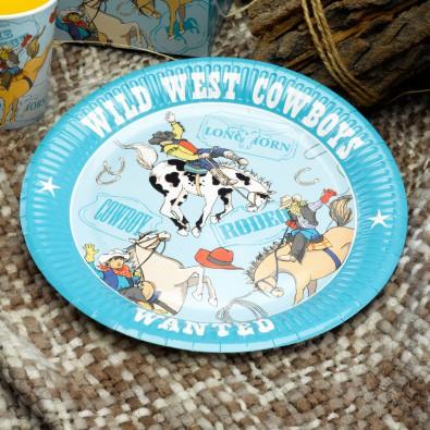 Grandes Assiettes Anniversaire Wild West Cowboys