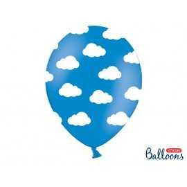 Ballons latex Bleu motifs Nuages Avion dans les nuages