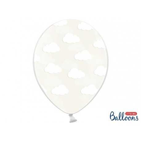 Ballons latex Transparents motifs Nuages Avion dans les nuages