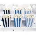 6 Boîtes à Pop Corn Bleu rayé blanc