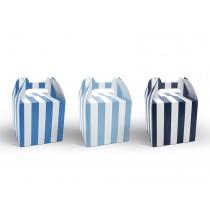 6 Boîtes Cadeaux invités bonbons Bleu rayé blanc