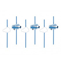 Pailles en plastique décorées Anniversaire Avion dans les nuages