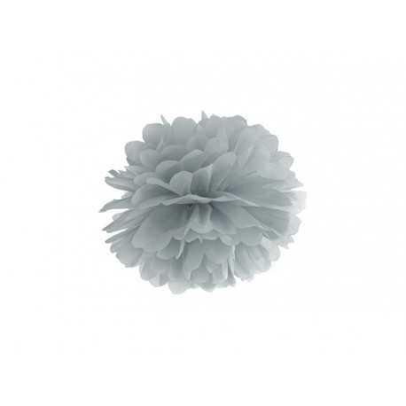 Pompon Papier de Soie 25cm Gris argent Décoration de Fête