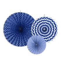 3 Rosaces Bleu de Fête Chevron et A Pois Eventails à Suspendre Assortis