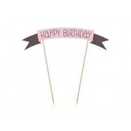 Banderole décorative Happy birthday pour gâteau d'anniversaire