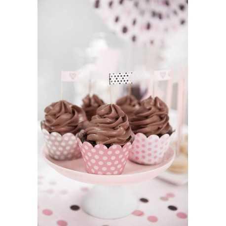 Contours à Cup Cakes Rose à pois Sweet Table