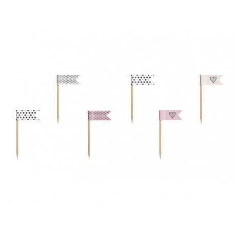 Mini Piques avec drapeaux pour Cup Cakes Rose à pois Sweet Table
