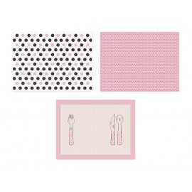 6 Sets de Table en papier Rose et Marron assortis