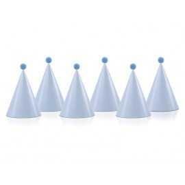 6 Chapeaux Bleu Clair à Pompons de Fête