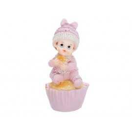 Figurine Bébé Fille sur cup cake rose clair